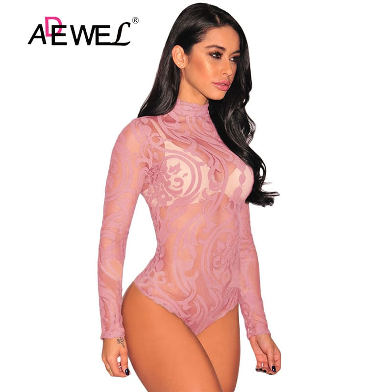 Pink-Sheer-Mesh-Print-Long-Sleeves-Bodysuit-LC32110-10-1