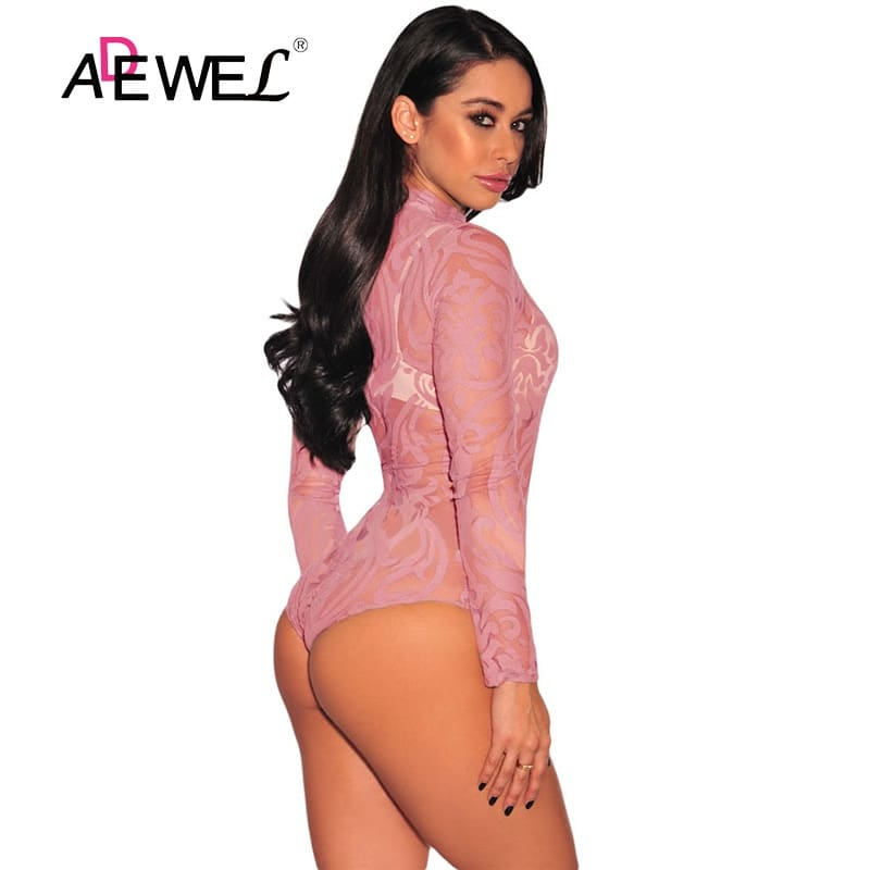 Pink-Sheer-Mesh-Print-Long-Sleeves-Bodysuit-LC32110-10-2