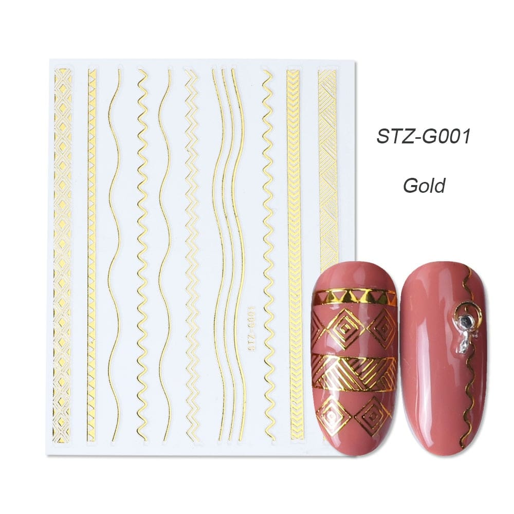 gold silver 3D stickers STZ-G001 gold
