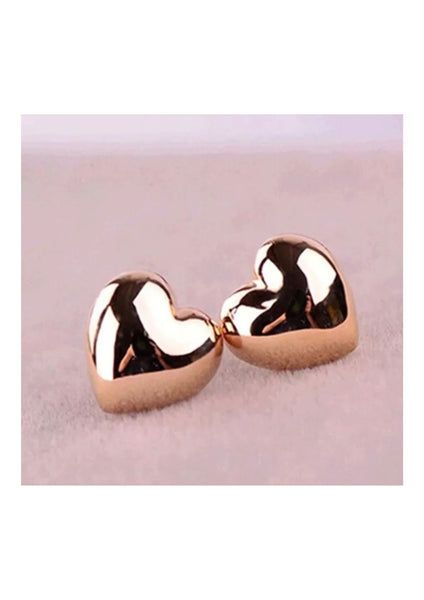 Gold plaited love heart earrings