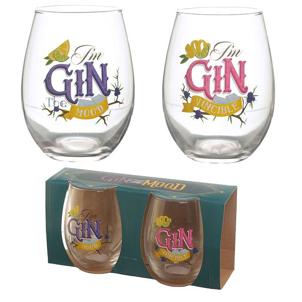 Glass tumblers set of 2: Gin OR Prosecco