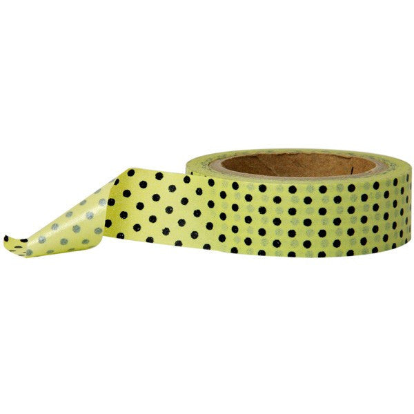 Washi Tape - Polka Dot Pistachio Black