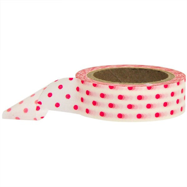 Washi Tape - Polka Dot White and Red