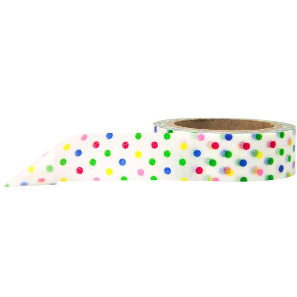 Washi Tape - Polka Dot White and Rainbow