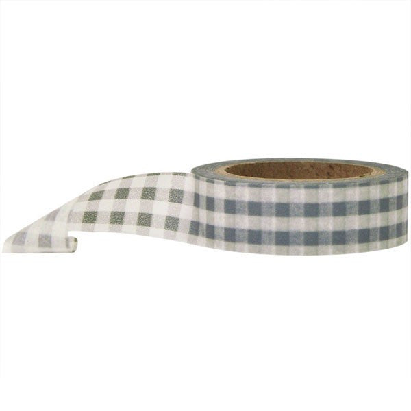 Washi Tape - Gingham Grey and White