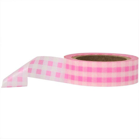 Washi Tape - Gingham Pink and White