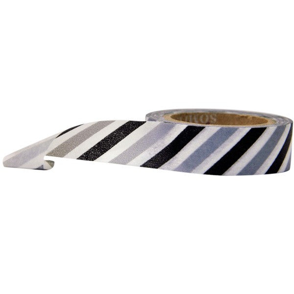 Washi Tape - Diagonal Stripe Black White and Grey