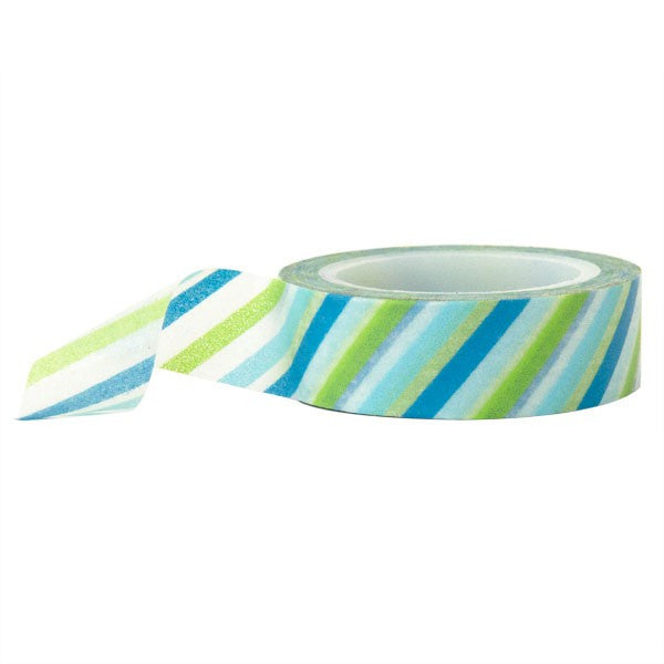 Washi Tape - Striped Blue Green