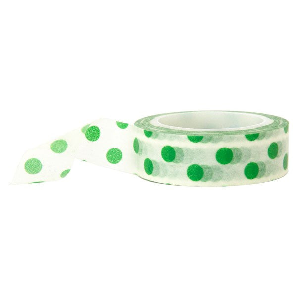 Washi Tape - Polka Dot White and Green