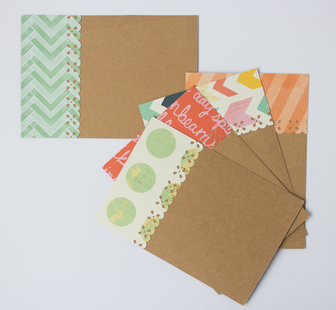 Handmade Note Cards - Happiness & Chevron
