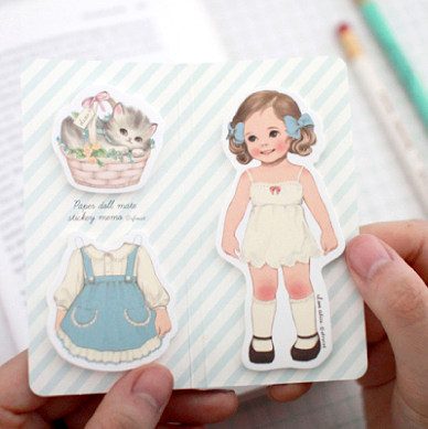 Paper Doll Sticky Notes Set