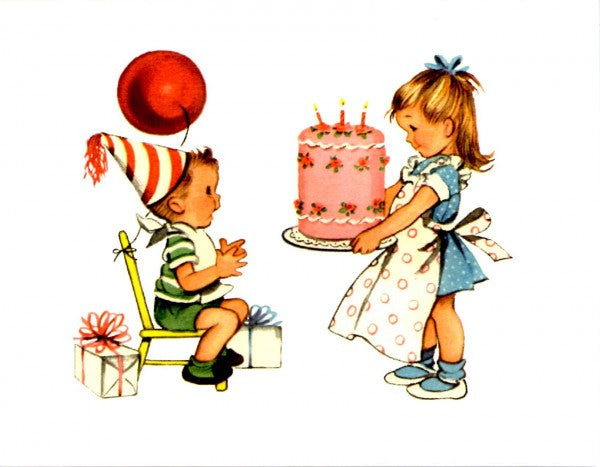 Vintage Girl and Boy With Cake Card