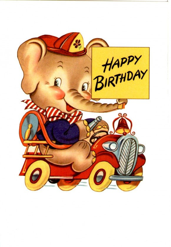 Vintage Elephant On A Firetruck Card