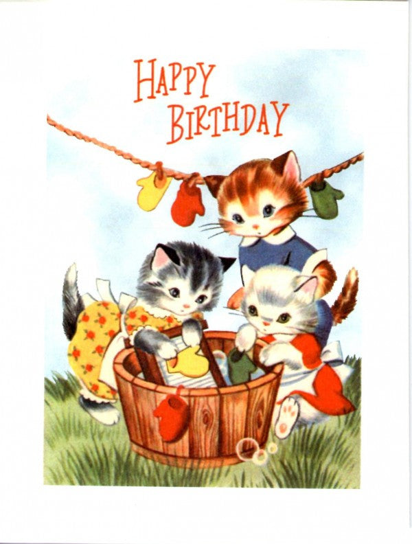 Vintage Laundry Kittens Card