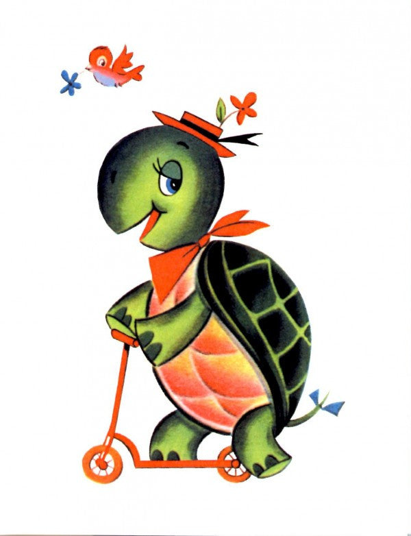 Vintage Turtle On A Scooter Card