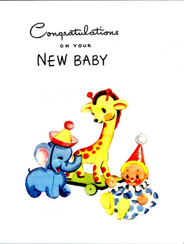 never used Vintage Congratulations on your new baby card and envelope