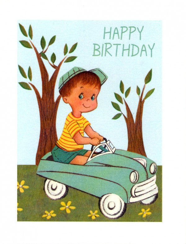 Vintage Boy In Car Happy Birthday Card