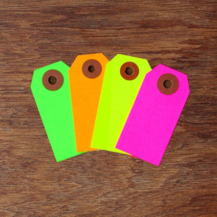 Neon Tags - Green, Yellow or Pink