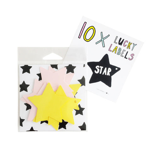 Lucky Labels Star Yellow Pink