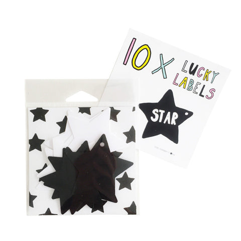Lucky Labels Star Black White