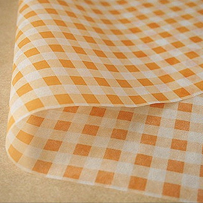 Gingham Parchment Paper - Orange