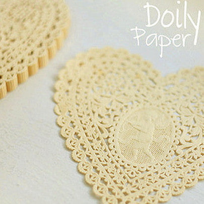Lovely Heart Paper Doilies - Yellow