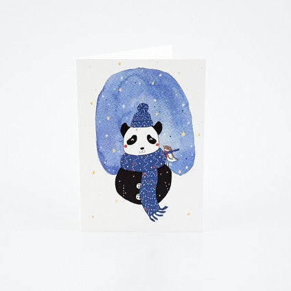 Panda and Robin Christmas Card