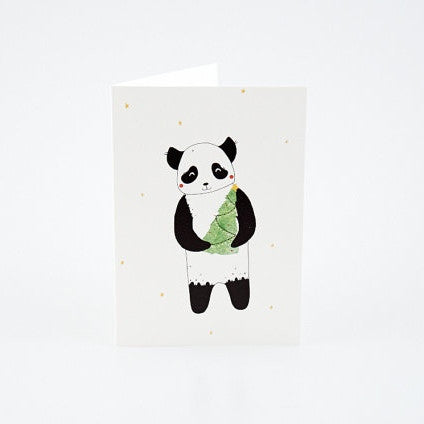 Panda and Christmas Tree Card