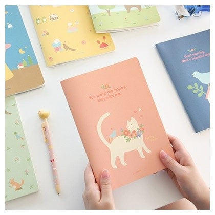 Lovely Illustration Lined Notebook  - Large