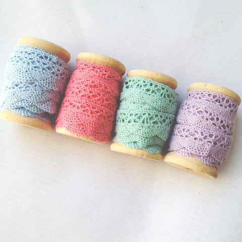 Cotton Lace Trim On Wooden Spool