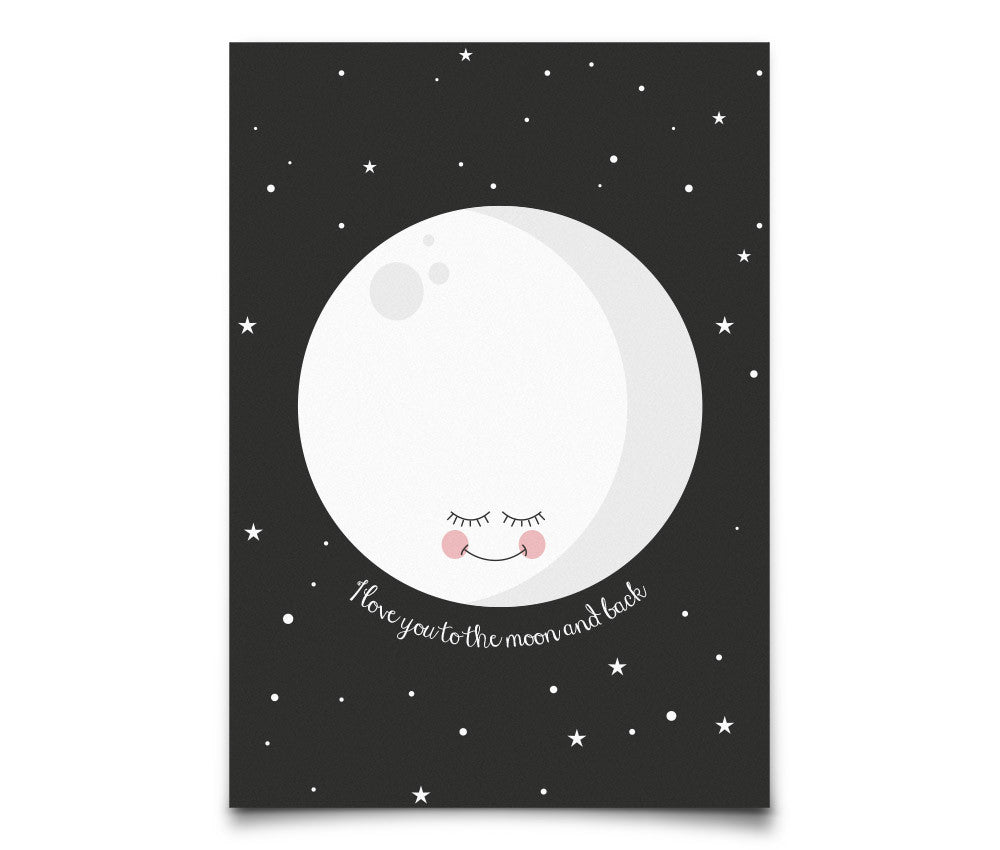 Eef Lillemor 'I love you to the moon and back' Postcard - Black
