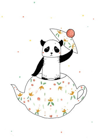 Panda With A Teapot Postcard