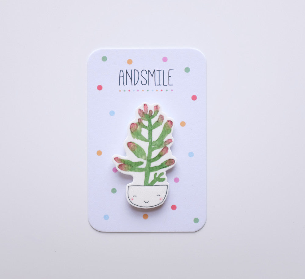 And Smile Studio Brooch - Succulent In A Smiley Pot