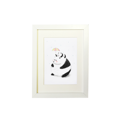 Little Sketchy Baby Panda In The Rain Print