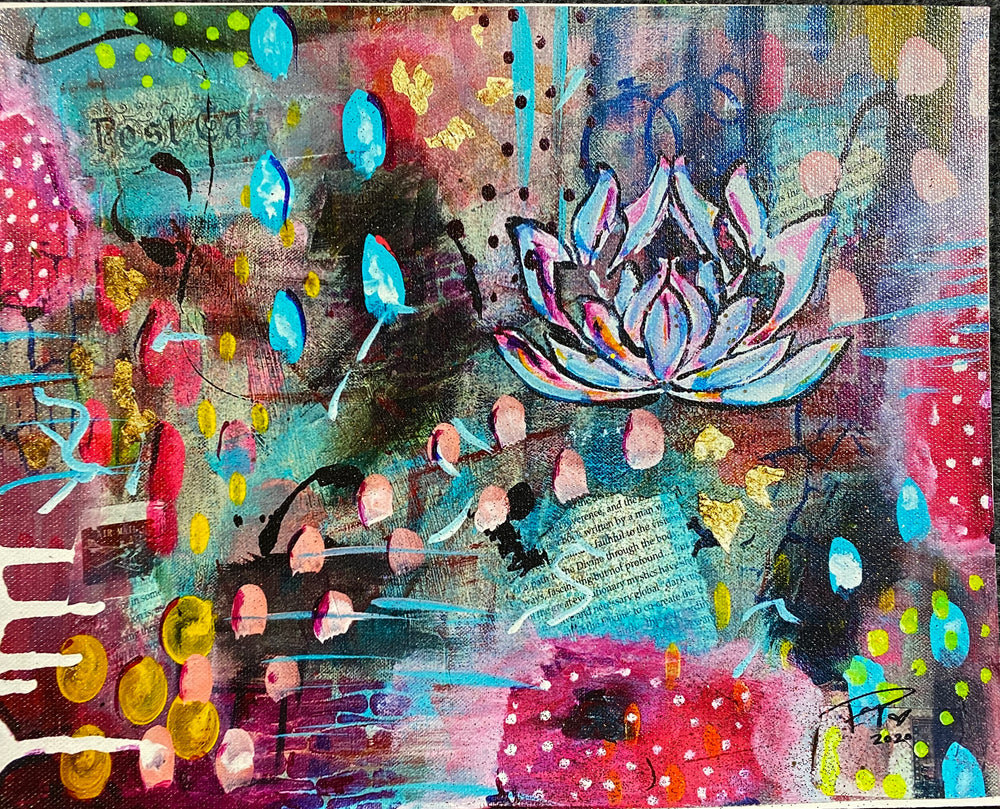 Purity lotus acrylic painting by Paige Vidrine Louisiana artist and Mississippi evacuee