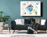 High flow acrylic abstract blue pink bubbles simple by Paige Vidrine abstract artist