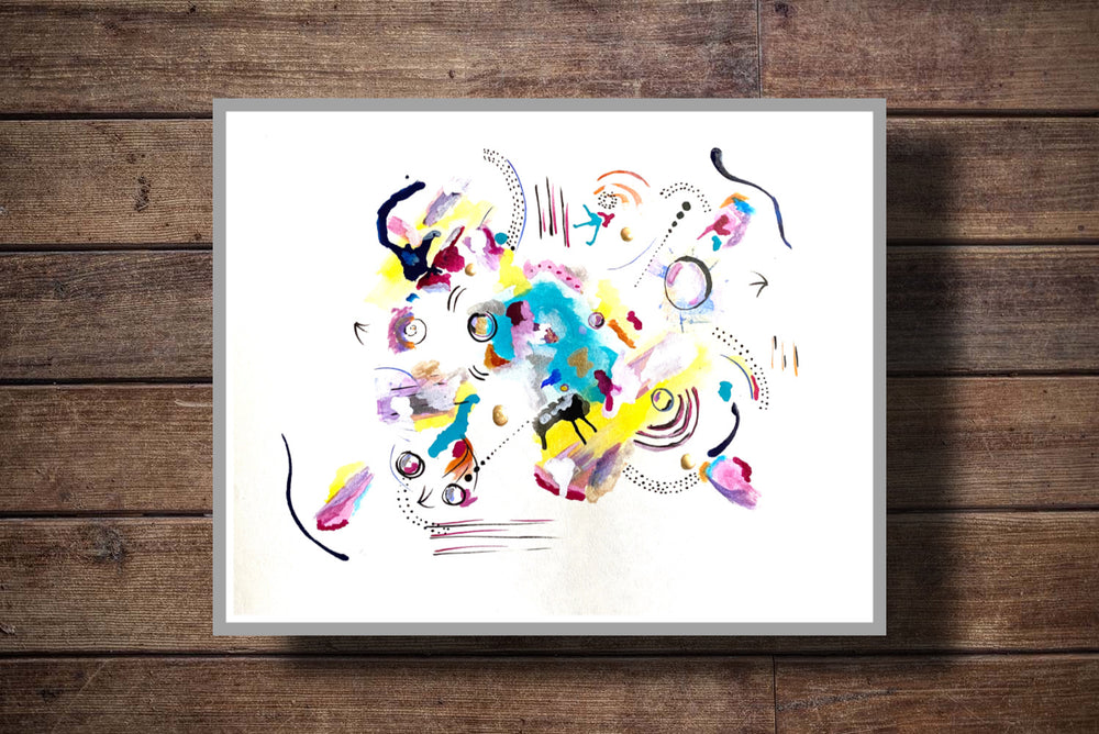 The Illusion abstract art colors whimsical design by Paige Vidrine Louisiana abstract artist