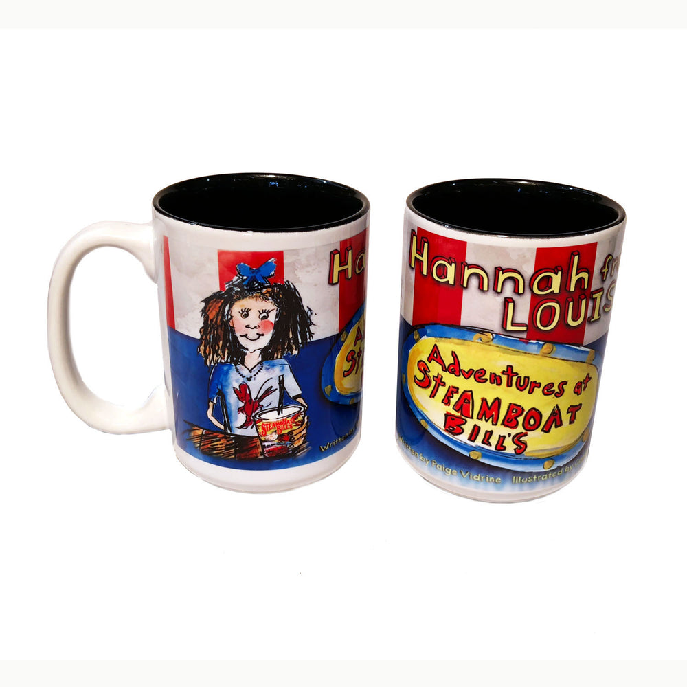 Hannah From Louisiana: Adventures at Steamboat Bills in Lake Charles Louisiana Seafood Restaurant written by Paige Vidrine and illustrated by Candice Alexander Coffee Mug