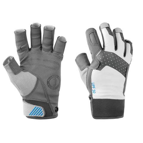 MA600202 Traction Open Finger Gloves Light Grey-Blue
