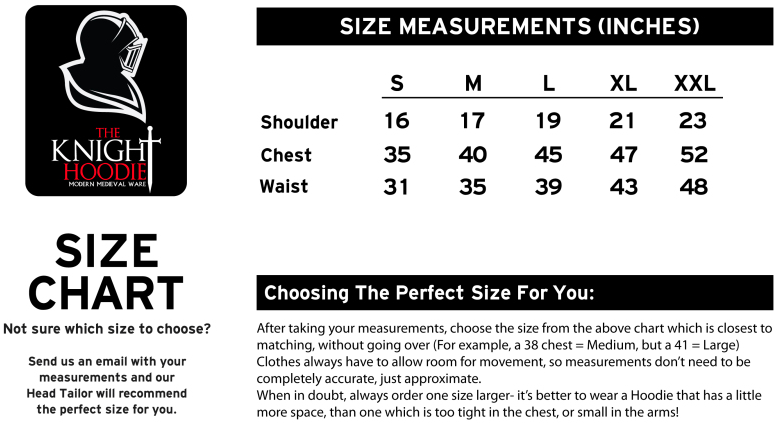 Knight Hoodies Game of Thrones Sizing Chart