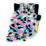 Plutus Pink, Blue, Black, Yellow  Exotic Faux Fur Luxury Throw Blanket