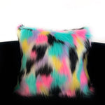 Plutus Pink, Blue, Black, Yellow Exotic Animal Faux Fur Luxury Throw Pillow