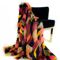 Plutus Burgundy, Black  Exotic Parrot Faux Fur Luxury Throw Blanket