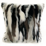 Plutus Black, White Zebra Animal Faux Fur Luxury Throw Pillow