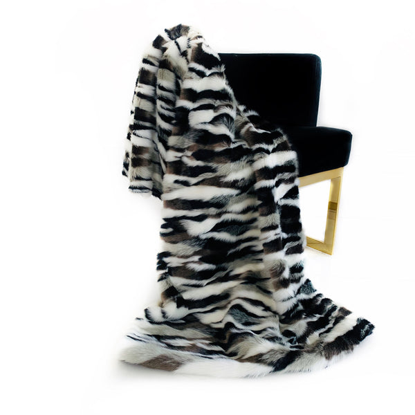 Plutus Black, White  Zebra Faux Fur Luxury Throw Blanket
