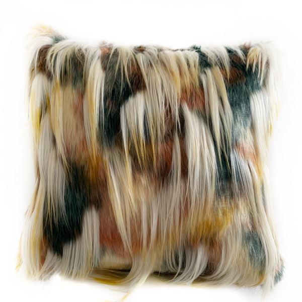 Plutus Multi-Color Fancy Feather Animal Faux Fur Luxury Throw Pillow