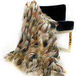 Plutus Multi-Color  Fancy Feather Faux Fur Luxury Throw Blanket
