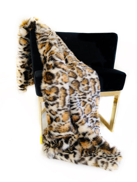 Plutus Brown  Tiger Faux Fur Luxury Throw Blanket