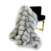 Plutus Off White  Two Tone Feather Faux Fur Luxury Throw Blanket