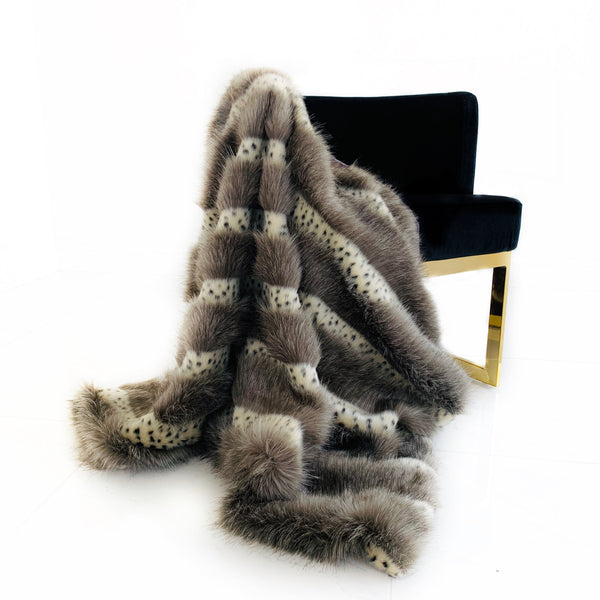 Plutus Gray  Two Tone Feather Faux Fur Luxury Throw Blanket
